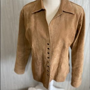 Coldwater Creek Leather Tan Jacket Size L